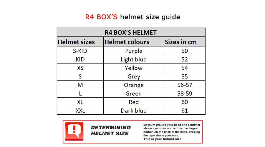 R3 and R4 BOX'S helmet sizes